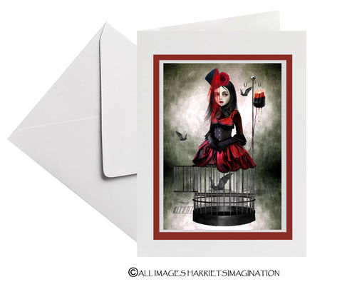 Vampire,And,bats,Art,Greeting,Card,Art Greeting Card, Vampire & Vampire bats Art Greeting Card, Vampire card, Gothic greeting card, HarrietsImagination