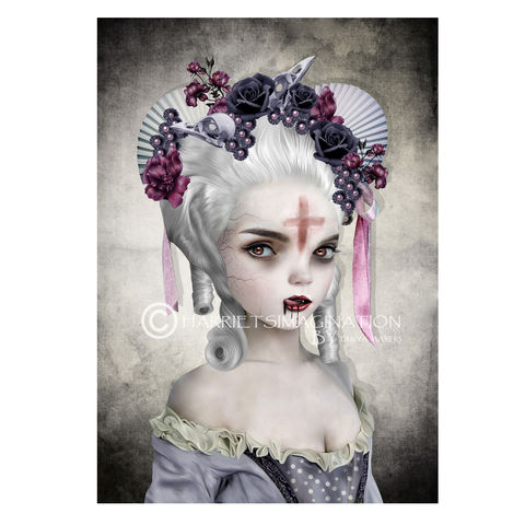Female,Vampire,Art,Print,-,Guilty,Conscience,Female Vampire art print, Gothic Fantasy art, Gothic vampire, Wall art print, HarrietsImagination