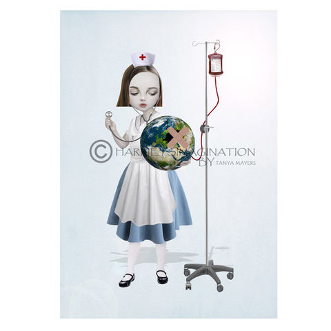 Lowbrow,art,print,-,Heal,The,World,Lowbrow art print, Wall art print, Pop surrealism, Nurse art, HarrietsImagination