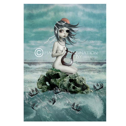 Mythical,Creature,Art,Print,-,The,Siren,Mythical art print, Siren Mermaid, Mythical creature, Fantasy Art, HarrietsImagination, Wall Art