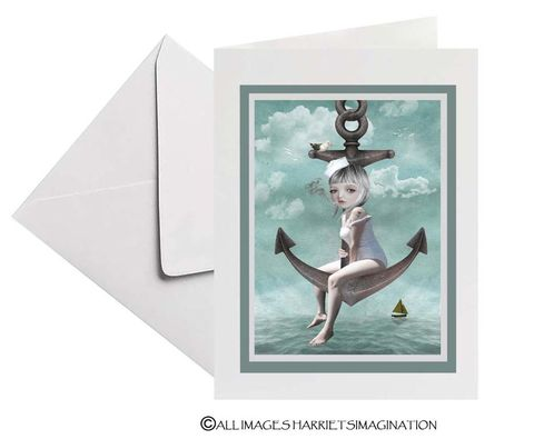 Sailor,Girl,And,Anchor,Art,Greeting,Card,Greeting card, Sailor Girl And Anchor Art Greeting Card, Nautical greeting card, Blank Card, All occasions card, HarrietsImagination