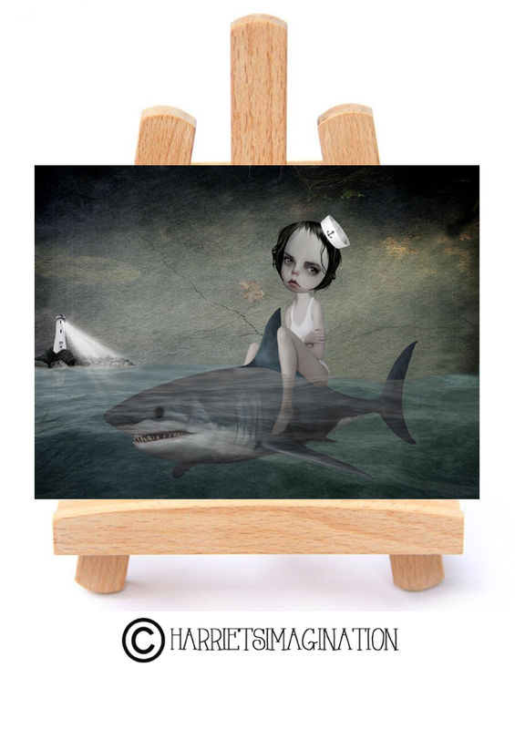 Sailor Girl And Shark ACEO Print - Daydream - product image