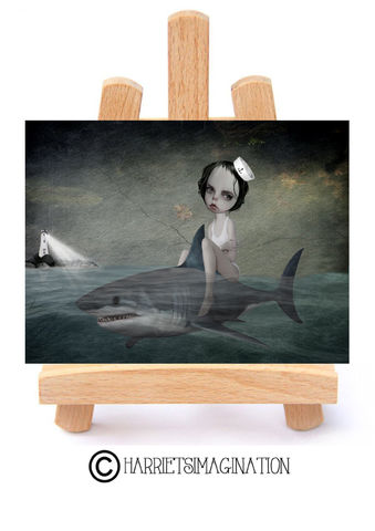 Sailor,Girl,And,Shark,ACEO,Print,-,Daydream,Sailor girl and shark ACEO Print. ACEO Card, Pop surrealism art, Artist trading card, HarrietsImagination