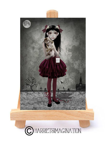 Little,Vampire,And,Cat,ACEO,Print,-,Child,Of,The,Night,Little vampire ACEO Print, Vampire art, ACEO Card, Gothic Art, Artist Trading Card, HarrietsImagination