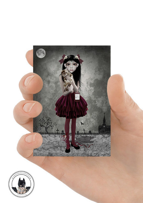 Little Vampire And Cat ACEO Print - Child Of The Night - product image