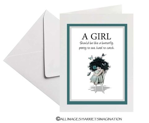 Butterfly,Girl,Quote,Card,Greeting Card, Butterfly girl quote card, Blank Card, Butterfly greeting card, HarrietsImagination