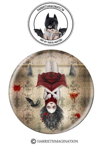 Vampire,Girl,And,Bats,Pinback,Button,Vampire Girl And Bats Pinback Button, Pin Badge, Gothic Pin, Gothic pin badge, Backpack Pins, Wearable art, HarrietsImagination