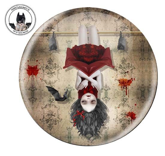 Vampire Girl And Bats Pinback Button - product image