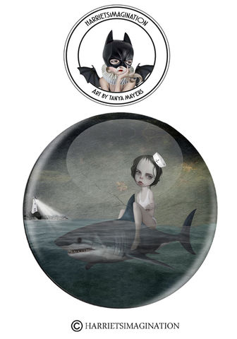 Sailor,Girl,And,Shark,Pinback,Button,Pinback Button, Sailor girl and shark Pinback Button, Pin Badge, Shark Badge, Wearable art, Nautical Pin, Backpack pins,  HarrietsImagination