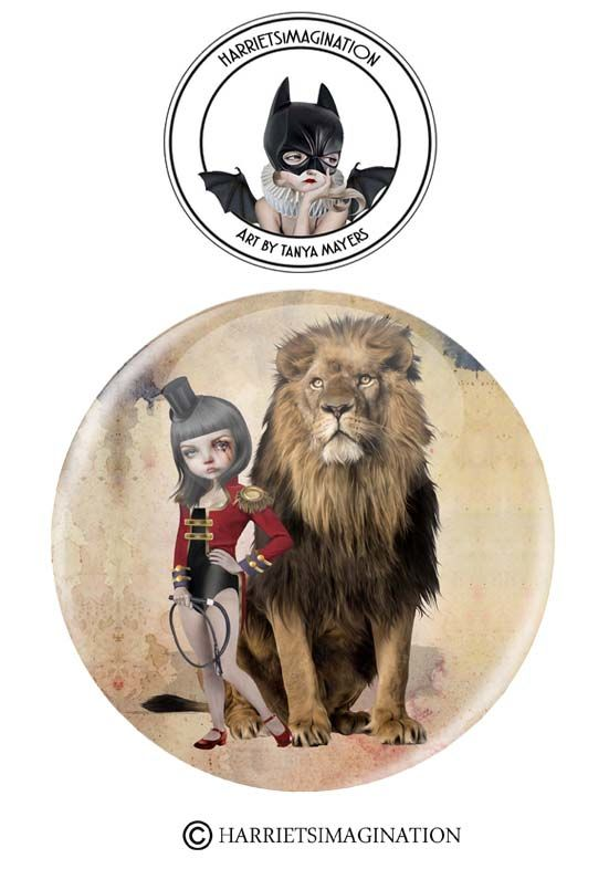 Lion Tamer And Lion Pinback Button - product image