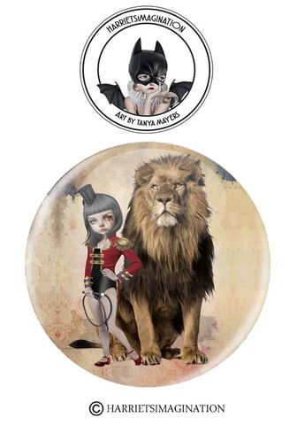Lion,Tamer,And,Pinback,Button,Lion Tamer And Lion Pinback Button, Lion Pin, Lion Badge, Circus Pinback badge, Wearable Art, Backpack pins, HarrietsImagination