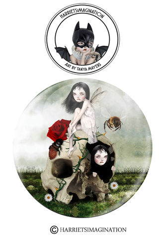 Fairies,And,Skull,Pinback,Button,Badge,Fairies and skull pinback button badge, Pin badge, Fairy pin, Fantasy art badge, Skull pinback badge, Harrietsimagination
