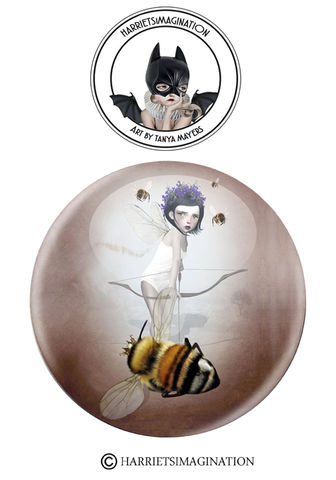 Fairy,And,Queen,Bee,Pinback,Button,Badge,Fairy and queen pinback button badge, Fairy pin, Art Badge, Save the bees, Bee pin, Bee badge, HarrietsImagination