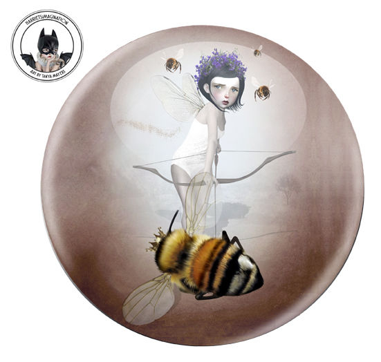 Fairy And Queen Bee Pinback Button Badge - product image