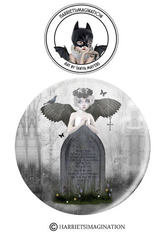 Gothic,Angel,Pinback,Button,Badge,Gothic angel pinback button badge, Pin Badge, Fallen Angel, Backpack pins, HarrietsImagination