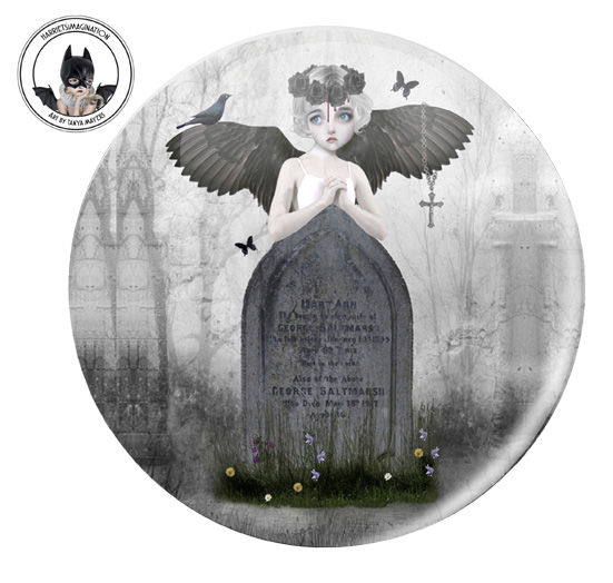 Gothic Angel Pinback Button Badge - product image