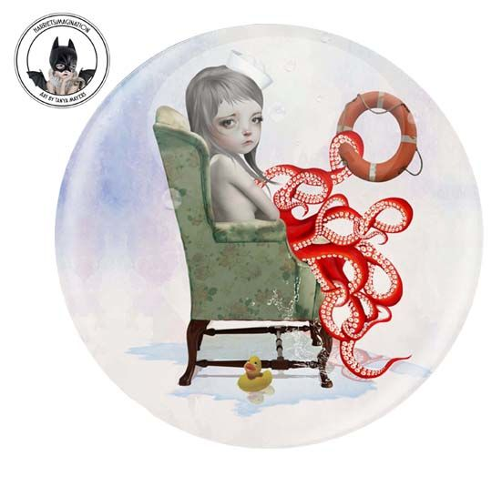 Octopus Girl Pinback Button Badge - product image