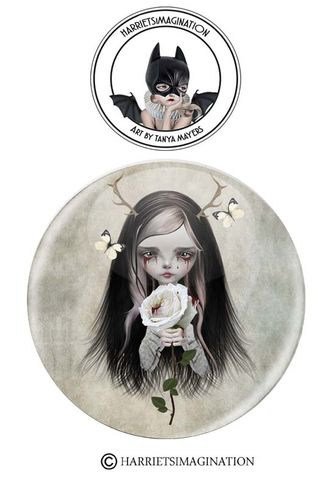 Girl,With,Antlers,Pinback,Button,Badge,Girl with antlers, Pinback button, Button badge, Pin badge, Wearable art, Backpack pins, Creepy cute, Goth girl pin, HarrietsImagination