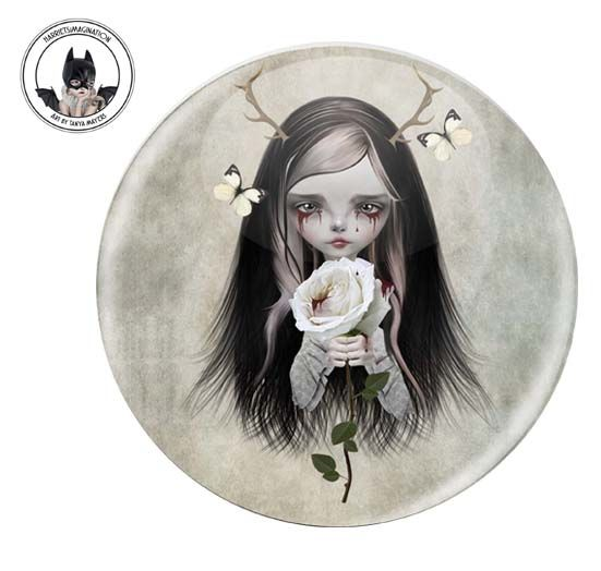 Girl With Antlers Pinback Button Badge - product image