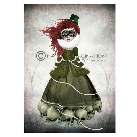 Masked,Lady,And,Skulls,Art,Print,-,Those,Beneath,Me,Wall Art Print, Masked lady, Creepy cute, lowbrow pop surrealism art, pop surreal, Skull art, HarrietsImagination