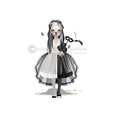 Creepy,Cute,Girl,Art,Print,-,Domino,Art print, Creepy cute girl, Wall Art Print, Pop surrealism lowbrow art, HarrietsImagination, Black and white art,