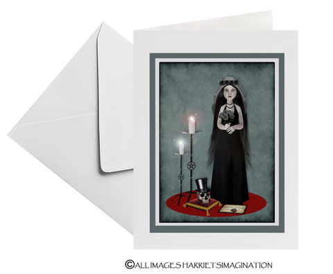 Gothic,Wedding,Card,-,Halloween,Gothic wedding card, Halloween wedding, Wedding card, Goth wedding, Goth romance, HarrietsImagination