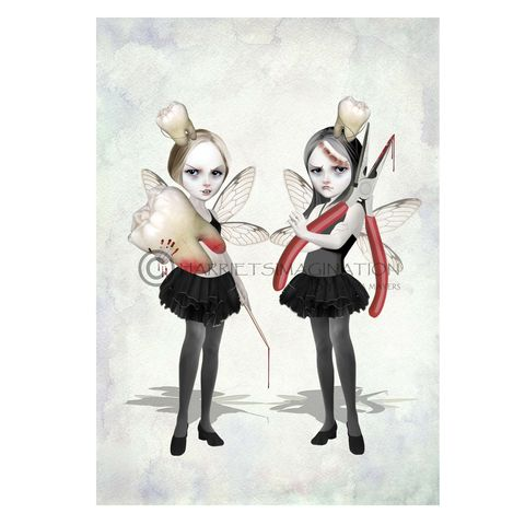 Creepy,Cute,Fairy,Art,Print,-,Tooth,Fairies,Art Print, Creepy cute, Tooth Fairies, Fairy Art, Gothic Art, Harrietsimagination