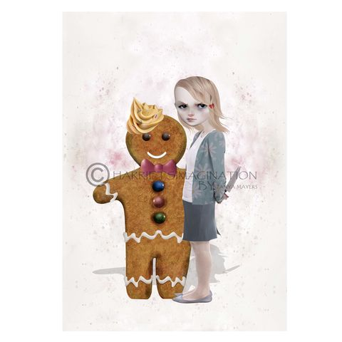 Gingerbread,Man,Art,Print,-,Sugar,Rush,Art print, Gingerbread Man Art Print, A3 Print, A4 Print, Gingerbread art, Pop surrealism, Pop surreal art, Big eyed girl, Big Eyes, HarrietsImagination