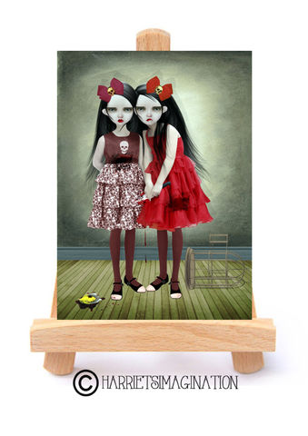 Creepy,Sisters,ACEO,Print,-,A,Deliberate,Accident, Creepy Cute, ACEO Print, Creepy sisters, ACEO Card, Art Card, Artist Trading Card, ATC, HarrietsImagination