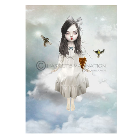 Whimsical,Art,Print,-,High,Hopes,Art Print, Whimsical Art Print, Cloud girl, Pop surrealism, Lowbrow art, HarrietsImagination