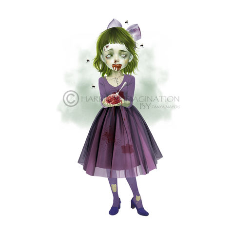 Zombie,Girl,Art,Print,-,Resurrected,Art Print, Zombie Art Print, Creepy cute, Undead Art, Walking Dead, Pop surrealism, Lowbrow art, HarrietsImagination