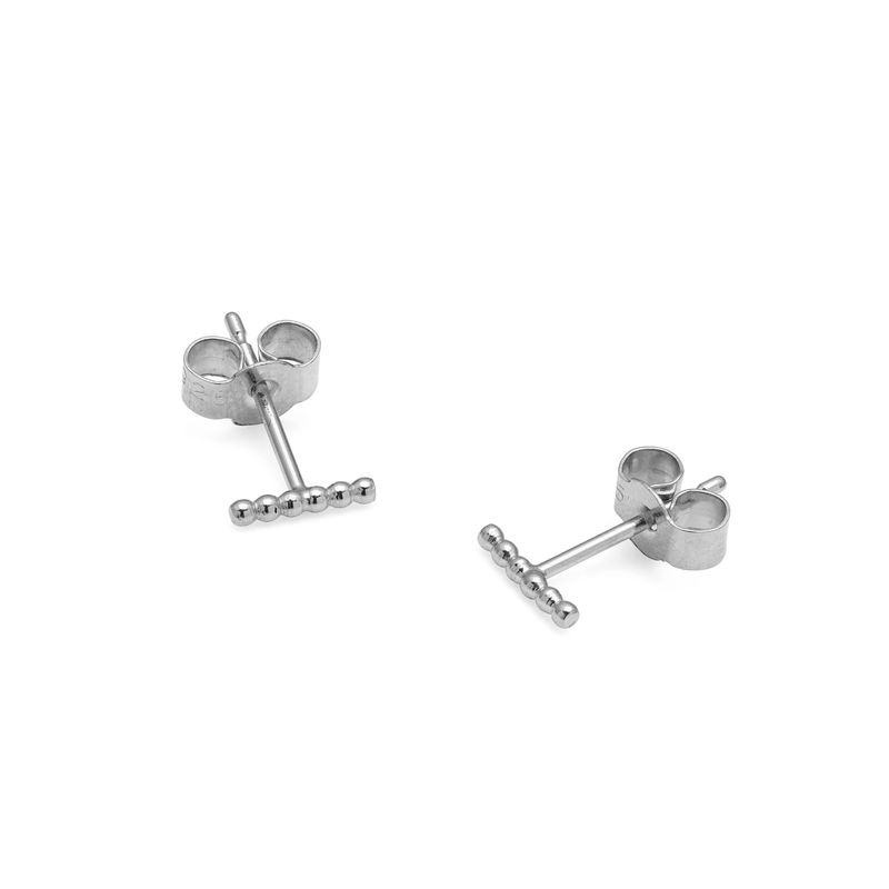 MINI BALL BAR STUD EARRINGS - SILVER - product images  of