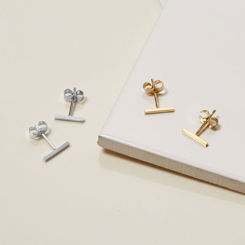 BAR STUD EARRINGS - GOLD - product image
