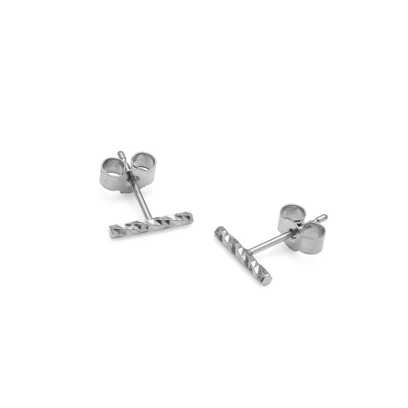 DIAMOND BAR STUD EARRINGS - SILVER - product image