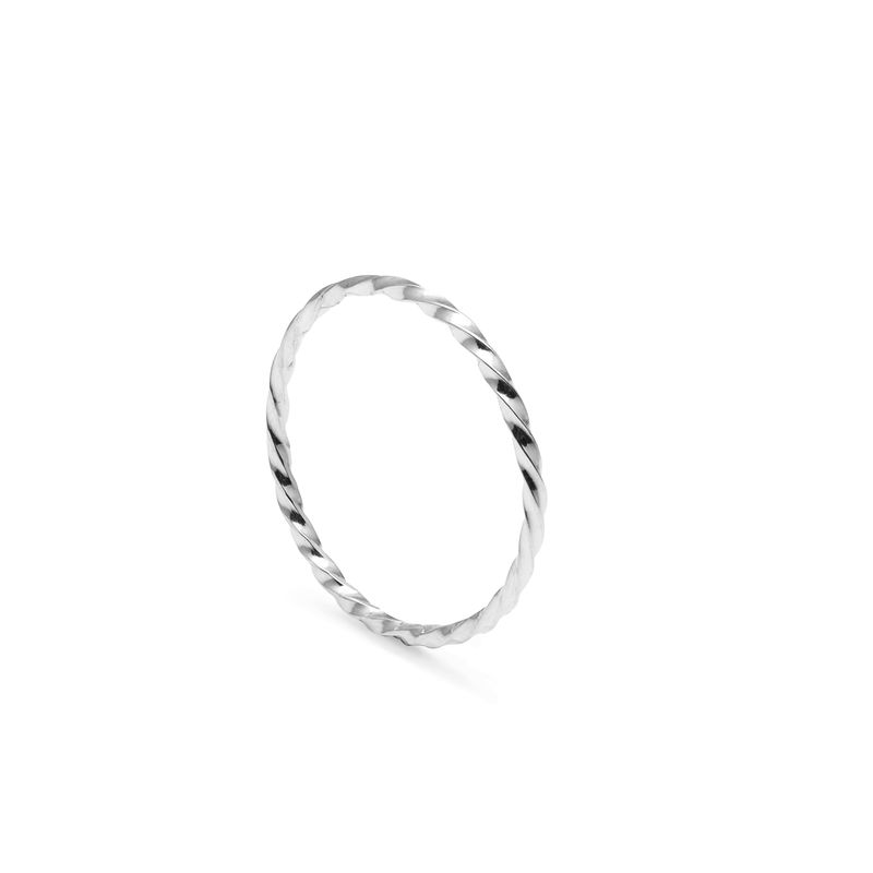 SKINNY TWIST STACKING RING - SILVER - product images  of