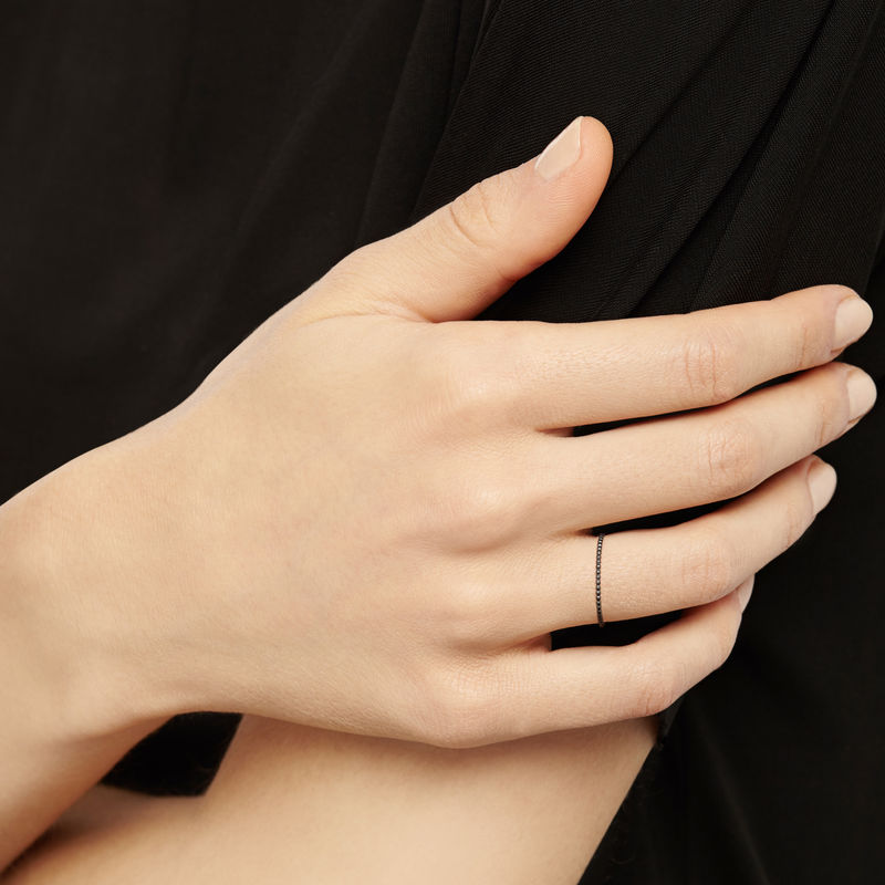 SKINNY BALL STACKING RING - BLACK - product image