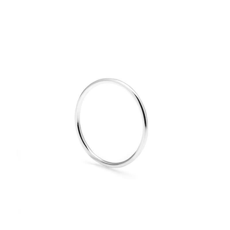 SKINNY ROUND STACKING RING - SILVER - product image
