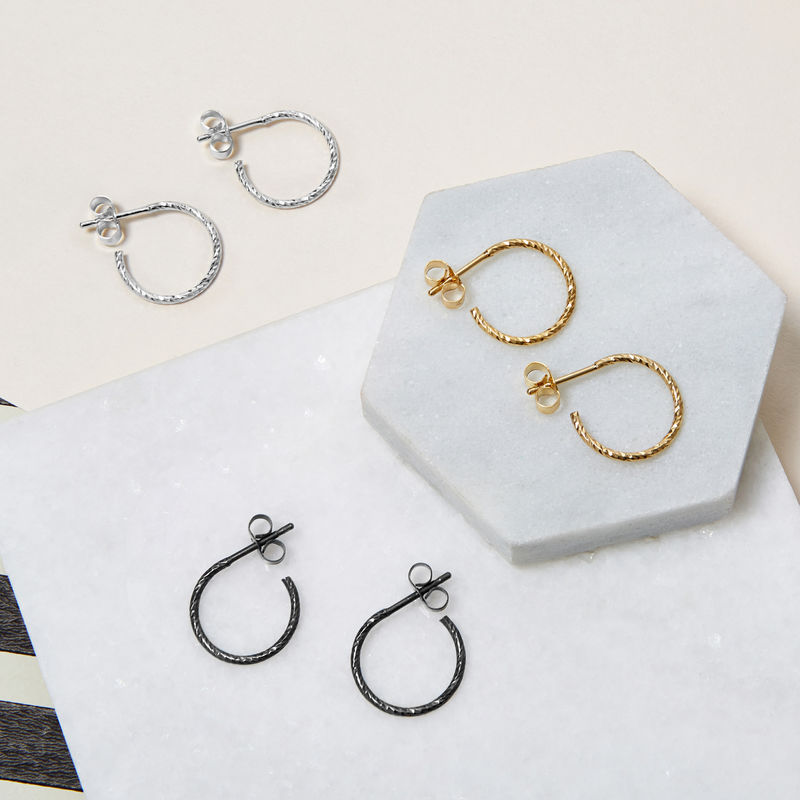 MINI DIAMOND HOOP EARRINGS - BLACK - product images  of