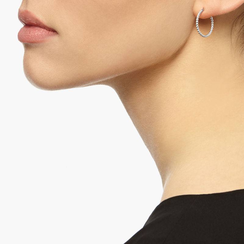 MINI BALL HOOP EARRINGS - SILVER - product image