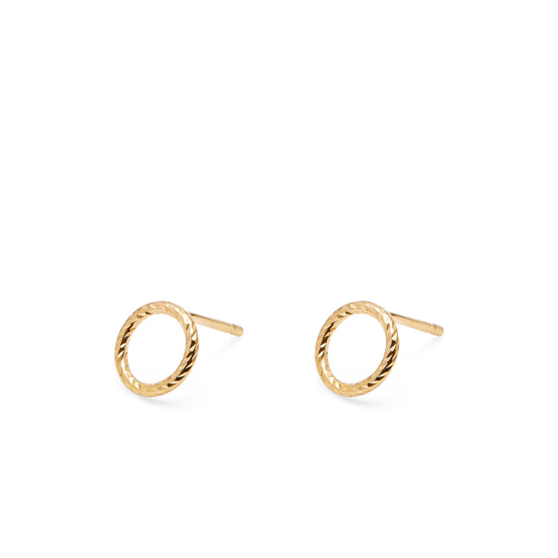 MINI CIRCLE DIAMOND STUD EARRINGS - GOLD - product image