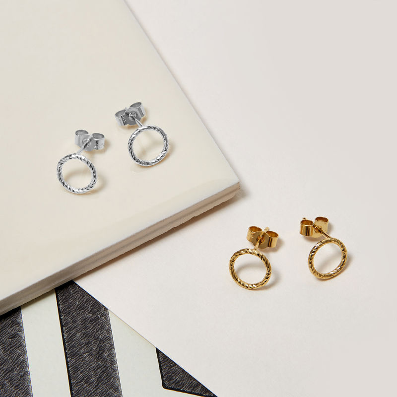 MINI CIRCLE DIAMOND STUD EARRINGS - SILVER - product image