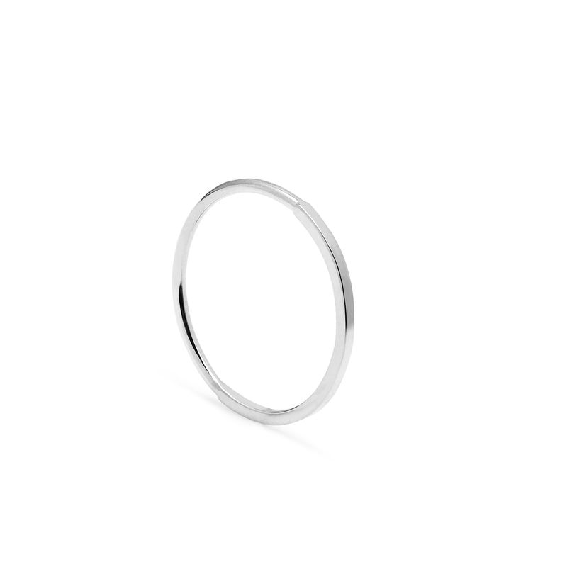 50 ROUND / 50 SQUARE SKINNY STACKING RING - SILVER - product image
