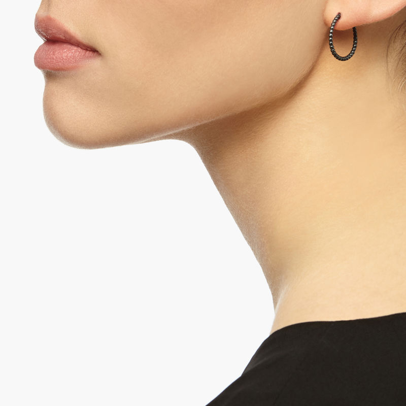MINI BALL HOOP EARRINGS - BLACK - product images  of