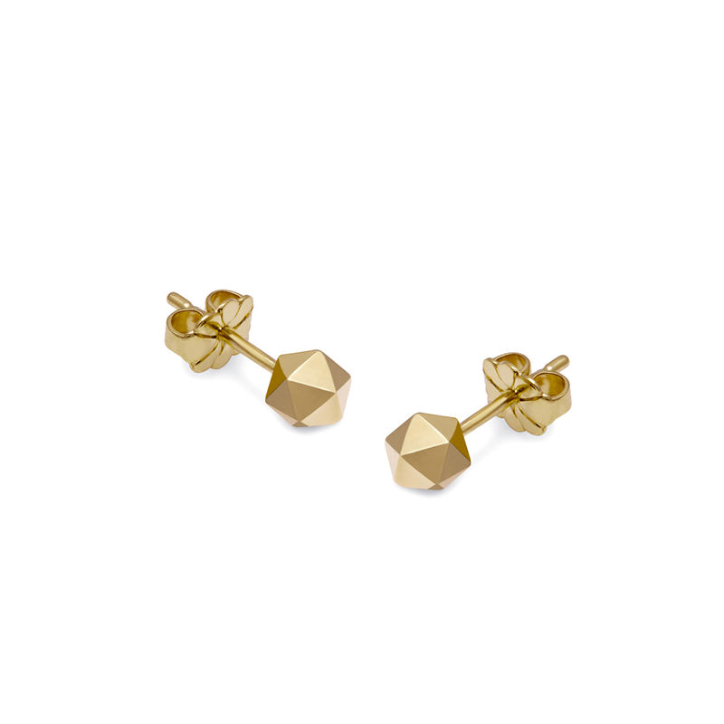 ICOSAHEDRON STUD EARRINGS - GOLD - product images  of