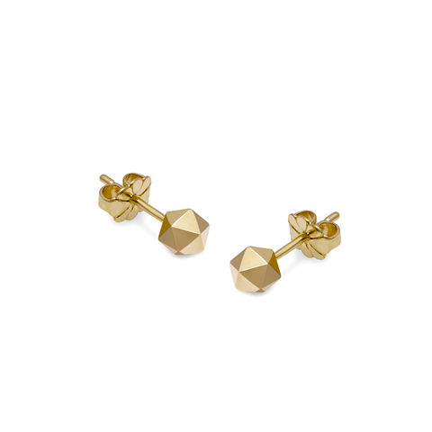 ICOSAHEDRON,STUD,EARRINGS,-,GOLD,icosahedron, platonic shapes, platonic jewlry, platonic jewellery, shapes, gold stud earrings