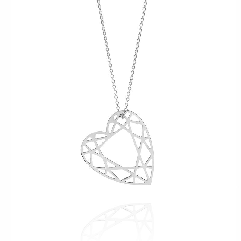 MEDIUM HEART DIAMOND NECKLACE - SILVER - product image
