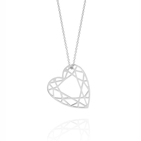 MEDIUM,HEART,DIAMOND,NECKLACE,-,SILVER,heart necklace, valentines day, contemporary heart, new designer jewellery