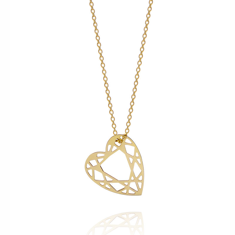 SMALL HEART DIAMOND NECKLACE - GOLD - product images  of