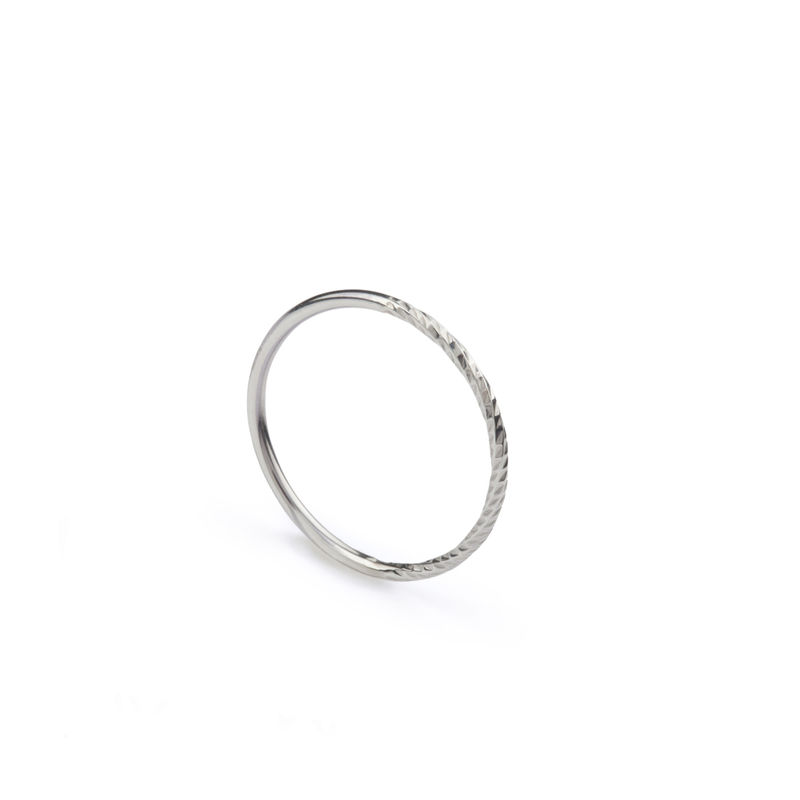 50/50 DIAMOND ROUND STACKING RING - SILVER - product images  of