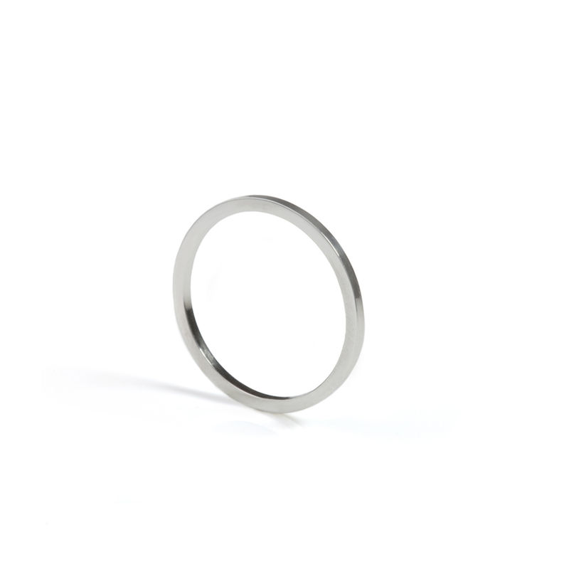 SKINNY SQUARE STACKING RING - SILVER - product image
